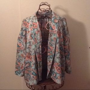 Paisley open front jacket